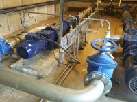 Lime pipework injection point before centrifuge feed pumps